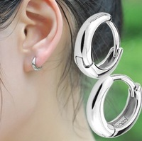Fashion 925 pure silver earrings simple glossy small ear buckle earring male women's earrings accessories