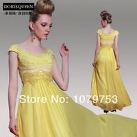 Free shipping  2014 evening dress yellow long design mid waist wedding dinner evening dress formal dress one-piece dress 30997