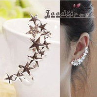 2014 fashion design earrings no pierced  single silver sparkling  five-pointed star female Clip Earrings