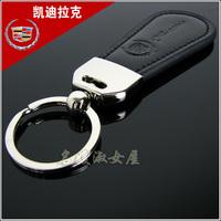 Cadillacs emblem genuine leather keychain key ring male brief car key chain laser lettering 1 1