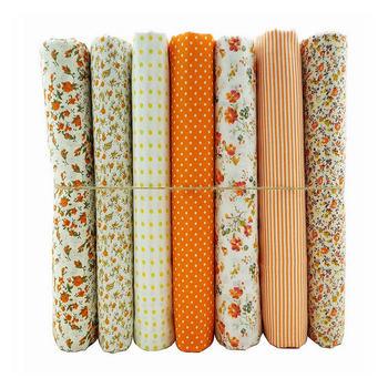 Новое поступление ~ оранжевый серии 50 x 50 см 7 печать ассорти 100% хлопок тильда ткань, Лоскутное рукоделие швейные ткань прямая поставка