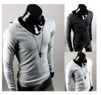 FREE SHIPPING,Hooddies Long Sleeve Outerwear T Shirt Dress Coat Mens Casual Sweatshirt Jacket 2175