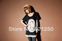 Free shipping tracking number, the latest women, Korean fashion Snow White pattern lace short-sleeved T-shirt