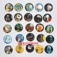 New ! The Nightmare Before Christmas tin badge Jack Skull Round pin badges Halloween kids gifts 2.5cm 108PCS/lot Free Shipping