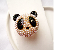Big Ring Fashion Cute Rings Lovely Panda Ring for Women Gold Plated Pearl Rings RD-J008