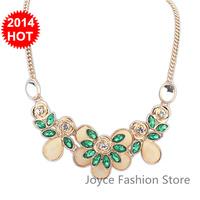 Min Order $10,New 2014 Vintage Fashion Statement Necklaces for Women,sweet Luxury Rose Flower Rhinestone Beads Gem necklaces,N32