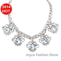 Min Order $10,New 2014 Vintage Fashion Statement Necklaces for Women,sweet Luxury flower Rhinestone Beads Gem necklaces,N90
