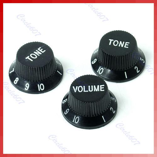 B39Hot Sell Black Guitars Strat Knob 1-Volume 2-Tone Control Knobs For Stratocaster Free Shipping(China (Mainla