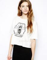A415 Fashion 2014 New  Women honey printed loose o-neck tshirt,girl's tshirt Free Shipping