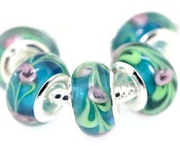 Set of 5 pieces 925 Silver Core Murano Glass Beads Fit European Charm Bracelet Free Ship IL070 asdf sdfg dfgh