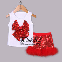 Toddle Summer Clothing Suit 2 Pcs Girls T Shirt With Big Bow And Red Sequin Infant Kids Pants With Fur For Children