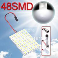 2pcs 48 SMD 5050 Pure White Panel Bright T10 BA9S Dome LED Bulb Lamp interior lighting auto Signal parking car light source