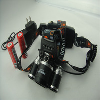 Free shipping 5000 Lumen 3x CREE XM-L T6 + 2x R5 LED Rechargeable Headlamp Headlight Light Head lamp 2x 18650 Battery Charger