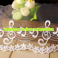 New Style Free shipping!30yards/lot,10cm White Flower Embroidery Lace tape trim for hair bow ornaments DIY garment accessory