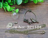 20set/lot 16*4mm Glass Cover Vial Dome &Mental Bird Base&Connector &70cm Necklace Antique Bronze Set DIY Neckalce Jewelry