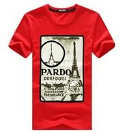 2014 Men's Big Yards T-shirt Casual Iron Tower Printed T Shirt Men Brand Pure Cotton Short Sleeve
