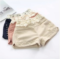 Free Shipping Wholesale (5 Size/Lot)New 2014 Childrens Kids Girls Spring Girls Clothing Lace Pearl Small Shorts All-Match Shorts