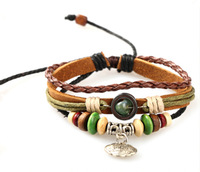 Vintage Multi-layer Bracelets Longevity Lock Bohimia Style Leather Rope Handmade New 2014 Fashion Jewelry Accessories For Lovers