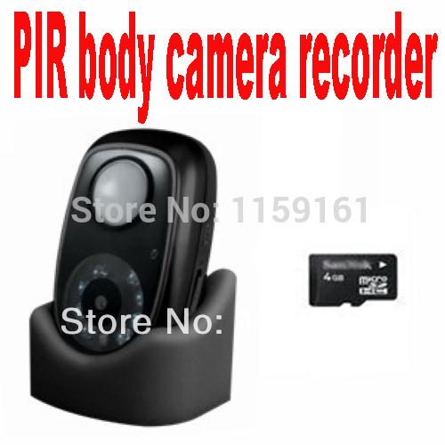 PIR body camera recorder micro SD card DVR with night vision 6 meter radius range indoor CCTV passive infrared detection system(China (Mainland))
