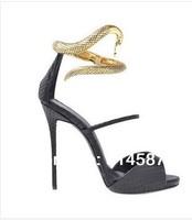 2014 New design gold snake ankle wrap high heel sandals
