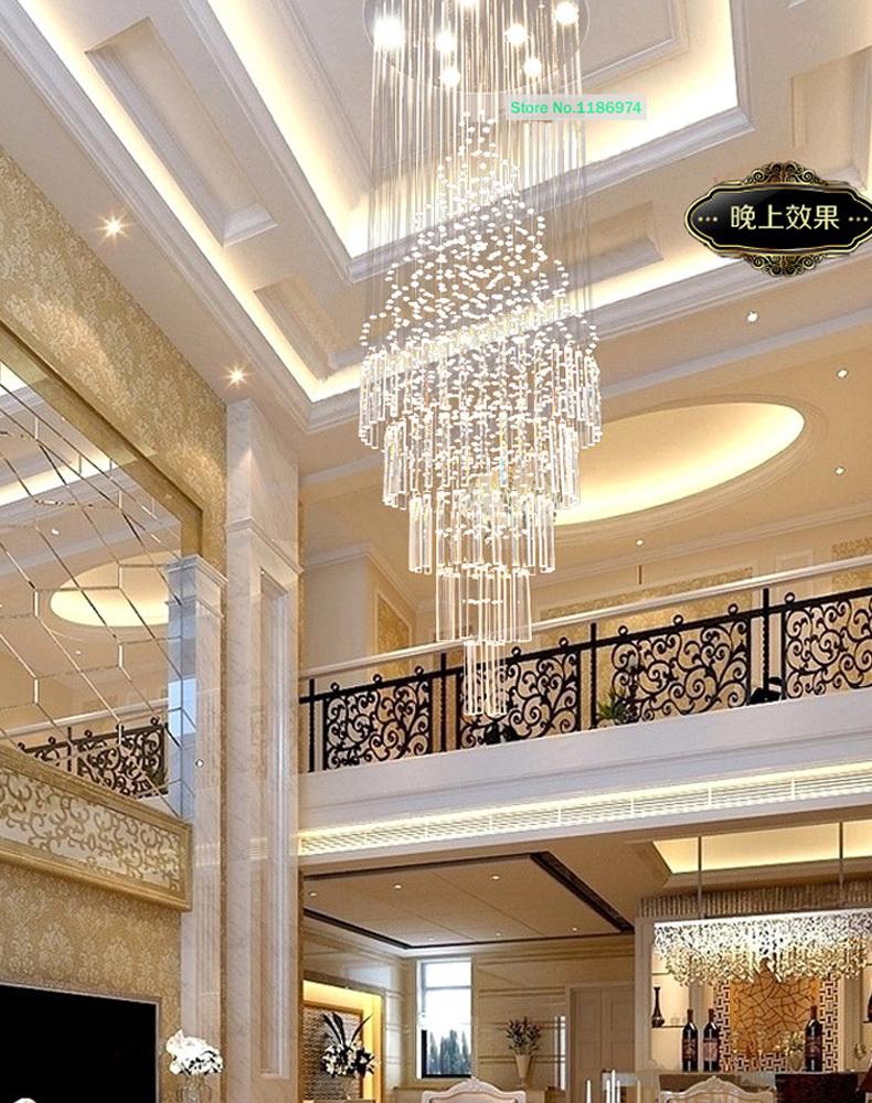 Crystal hanglampen led lampen lange trap kristallen hanglamp moderne