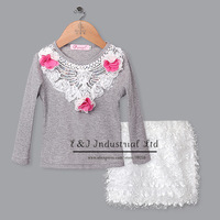 New Spring Girls Clothing Sets Lace Collar Cotton Clothes Long Sleeve Kids Sets White Polyester Shorts Girls Wear Chirdren Suit
