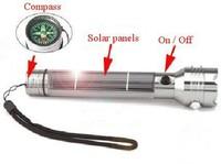 Solar Flashlight  LED lights Compass Solar panels Torch Free shipping