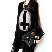 2014 spring and summer fashion personality fashion plus size clothing cross patchwork chiffon shirt