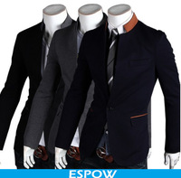 Blazer Korean Dress Men Hit Color Stand Collar Casual Blazer For Men Leisure Suit Banquet