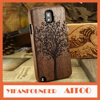Note 3 Wood Back Cover Case With Laser Engraving Pictures Full Wooden Cases For Samsung Galaxy Note III N9000 Retail Package
