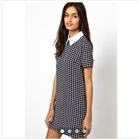 2014 women's spring fashion vintage color block plaid slim basic skirt plus size one-piece dress  ,free shipping