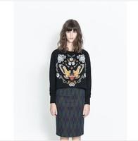 Autumn and winter women fashion vintage preppy style flower embroidery plus size plus velvet sweatshirt outerwear