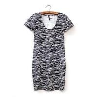 2014 spring and summer women's fashion stripe slim hip basic skirt plus size short-sleeve dress  free shipping