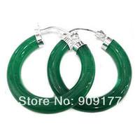 beautiful Green Jade Earring 925 Silver Women Hook Earring wholesale 4pcs 2[pair] earring deliver Free