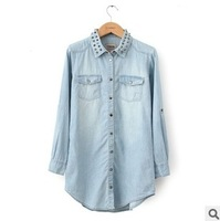 2014 women's spring fashion vintage rivet loose denim top plus size denim long-sleeve shirt  free shipping