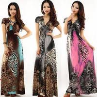 Boho Dress New 2014 Spring Women Leopard Print Dress Beach Summer Sundress Bodycon Long Dress
