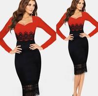 AliExpress Hot Spot Evening Elegant Dress star models sexy lace long-sleeved dress stitching,club dress,club skirt