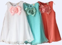 free shipping hot sale 2014 summer korean fashions flower princess dresses children clothing 3t to 7 girl dresses Hot sale