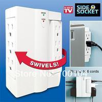 Free Shipping 96pcs/lot Side Socket As Seen On TV Side Socket Swivel Outlet