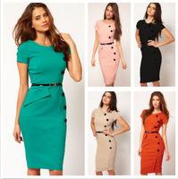 Hot selling new Autumn sexy fashion career OL white-collar short sleeve dress Slim Evening Elegant Dress Office lady dress