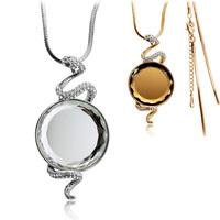 Quality hot-selling full rhinestone zodiac snake cat-eye - long necklace