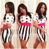 Hot 2014 new fashion casual tight dot girl print dress sexy striped party dress bandage bodycon dress sexy women's evening dress