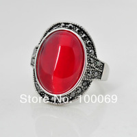 Min.order is $15 (mix order) 2014 Hot Selling Fashion Jewelry Vintage Red Stone Rings Novelty Retro Alloy Ring R3868