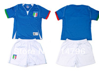 NEW 2014 Brazil World Cup Italy Child Football Uniform Jerseys + Shorts Customize Name And Number  Free Shipping