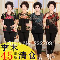 Quinquagenarian women's set short-sleeve middle-age women mother clothing summer quinquagenarian set plus size