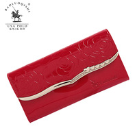 2014 Europe fashion genuine leather  Women long design women's Hasp three folder wallet women's Purse