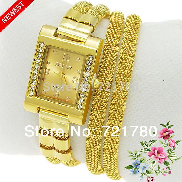 2014 Mais recente moda Dourados Bracelet Watch Mulheres Rhinestone Relógios 3 Anel malha de a?o inoxidável Strap Quartz Women Watch(China (Mainland))