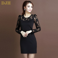 2014 spring women's knitted ol one-piece dress black pure plus size slim long-sleeve basic all-match lace dress Free shipping