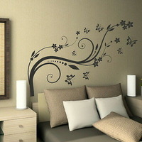 Lovely  Flower Wall Sticker Vinyl Decor Art Large Flower  Wall Decal Home Decoration