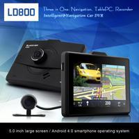 New LD800 Car DVR Recorder 5.0 Inch Andoid 4.0 with GPS Navigation+Tablet+Rearview Mirror Camera 1080P RAM 1GB G-sensor Wifi FM
